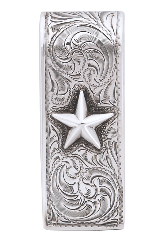 Pinto Ranch Lonestar Engraved Money Clip - Front