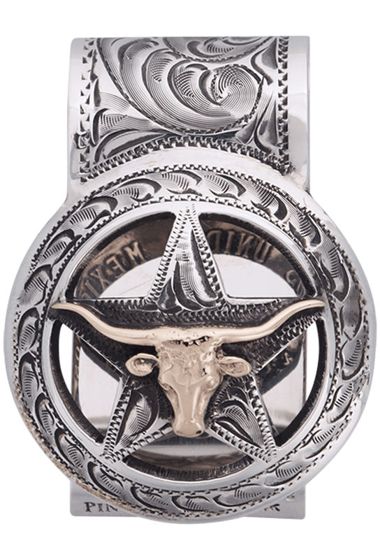 Pinto Ranch Cinco Peso Gold and Silver Longhorn Engraved Money Clip - Front