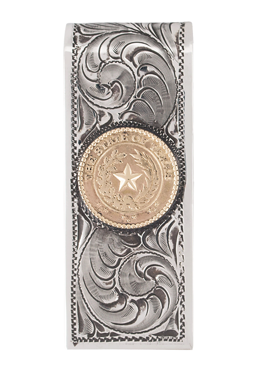pinto ranch state seal gold and silver engraved money clip