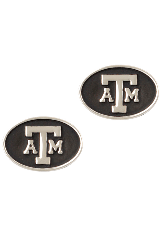 Texas A&M University Silver Cufflinks - Front