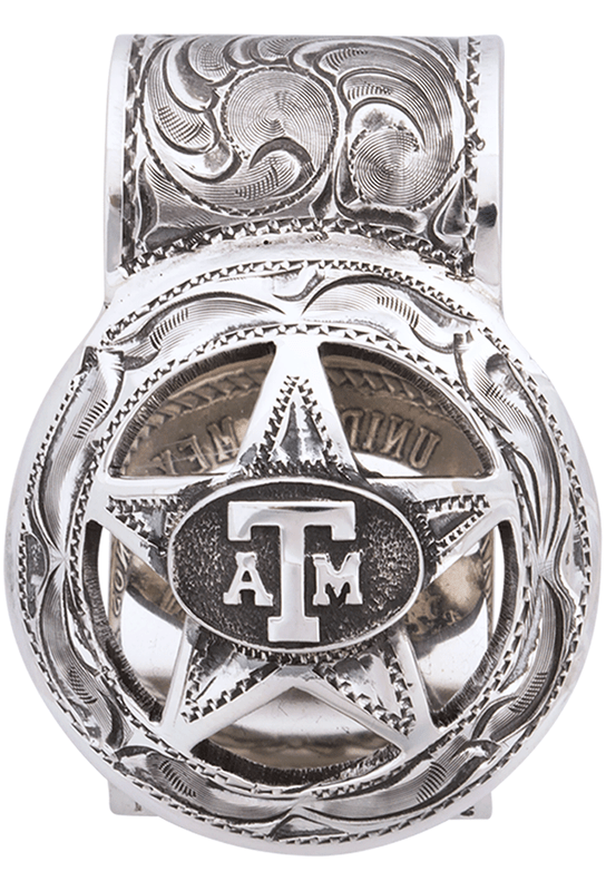 Texas A&M University Cinco Peso Engraved Money Clip - Front