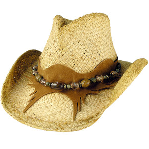 Shady Brady - Cresecent Suede & Amber Crushable Straw Hat