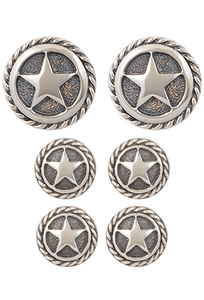Randall Moore Silver Star Rope Edge Cufflinks and Stud Set - Front