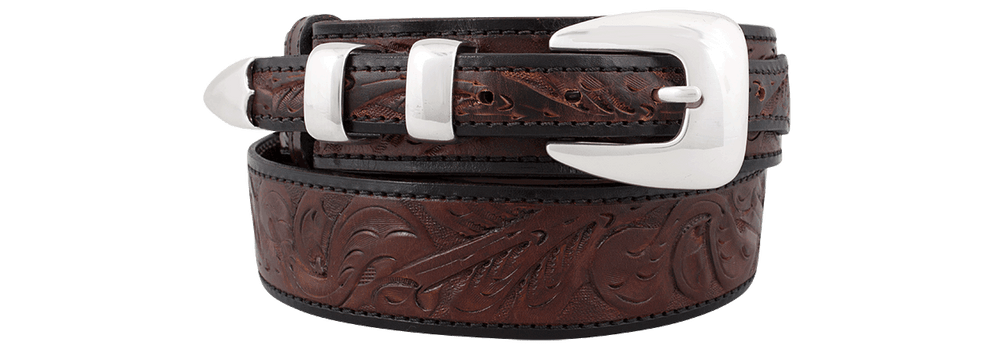 Tooled Ranger Belt - Brown