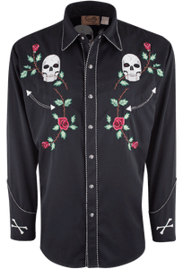 Scully Men's Skull and Roses Snap Shirt - Front
