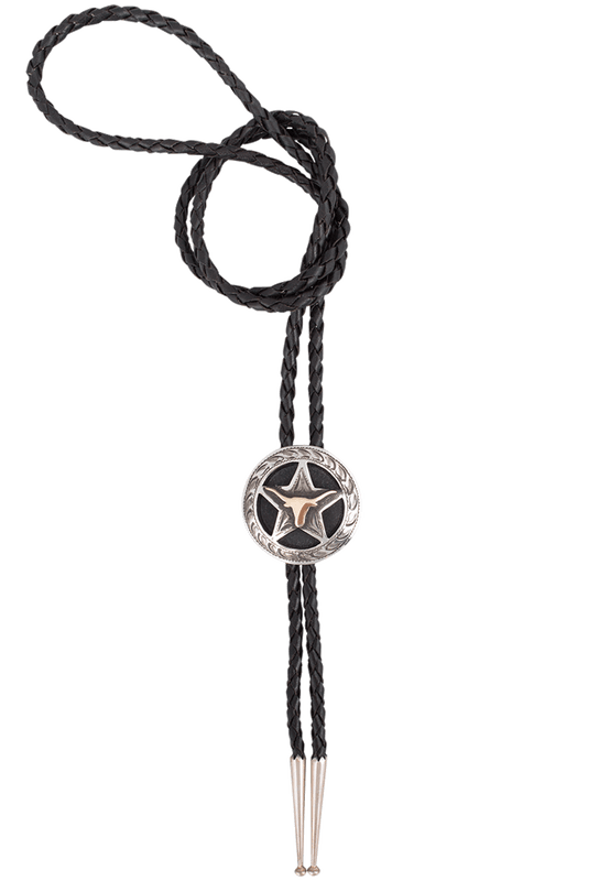 University of Texas Bevo Silver and Gold Cinco Peso Bolo Tie