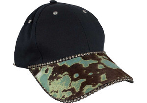 Pat Dahnke Rhinestone and Suede Cap - Turquoise - Front
