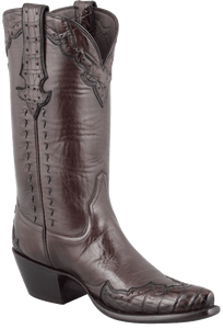 Stallion Women's Chocolate Majestic Caiman Crocodile Boots - Hero