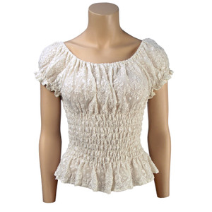 Top - Lace Peasant Stretch - Puff Sleeve