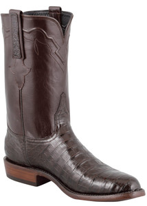 Lucchese Men's Chocolate Ultra Caiman Crocodile Roper Boots - Hero