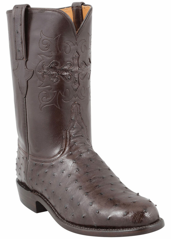 Lucchese Men's Nicotine Full-Quill Ostrich Roper Boots - Hero