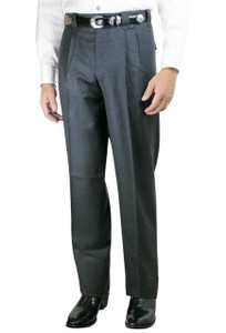Pleated Western Dress Slacks - Charcoal - Front