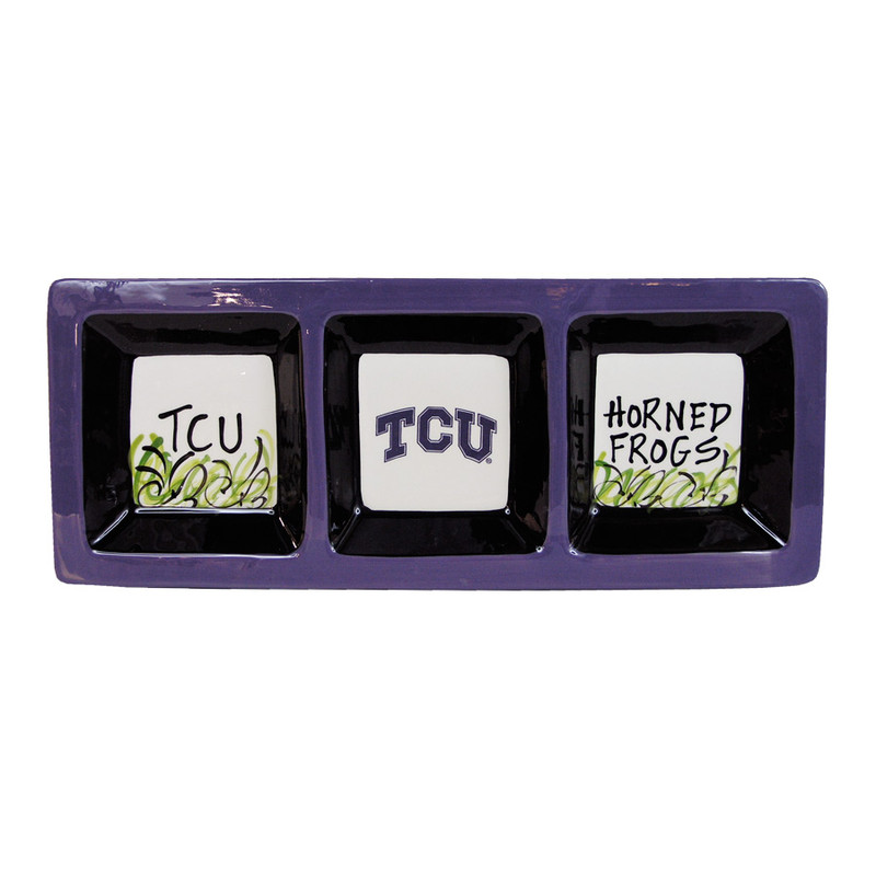 University - Texas Christian University Three Section Serving Dish