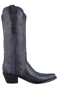 Stallion Women's Navy Caiman Crocodile Triad Boots - Side