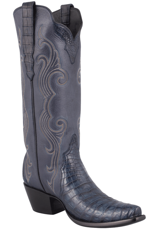 Stallion Women's Navy Caiman Crocodile Triad Boots - Hero