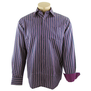 Bugatchi Navy and Fushia Stripe Shirt - Front