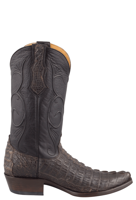 Benchmark by Old Gringo Men's Black and Tan Hornback Caiman Tail Red River Boots - Side