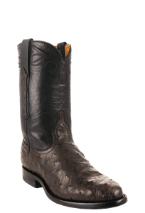 Benchmark by Old Gringo Men's Nicotine and Black Full-Quill Ostrich Cody Roper Boots - Hero