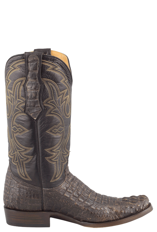 Benchmark by Old Gringo Men's Black and Tan Hornback Caiman Teton Boots - Side