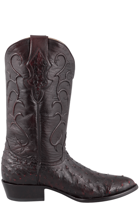 Benchmark by Old Gringo Men's Black Cherry Full-Quill Ostrich Tioga Boots - Side