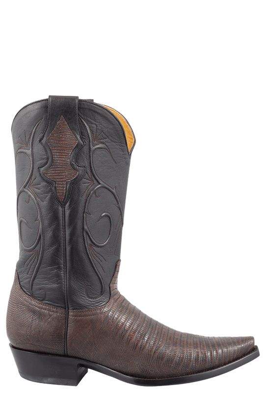 """Benchmark by Old Gringo Mens 13"""" Lizard Skin 1 Piece Vamp """"Cash"""" Boots- Chocolate/ Black - Side"""
