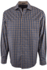 BUGATCHI MOCHA AND BLUE GINGHAM SHIRT- FRONT