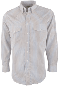 Gitman Bros. Tan and Blue Stripe Shirt - Front