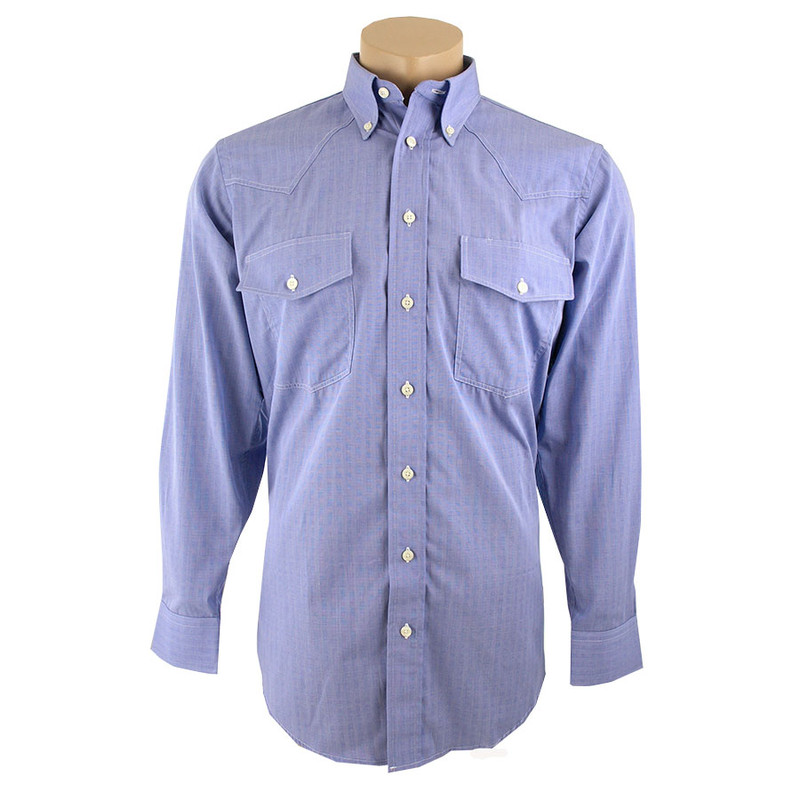 Gitman Bros. Blue End-On-End Shirt - Front