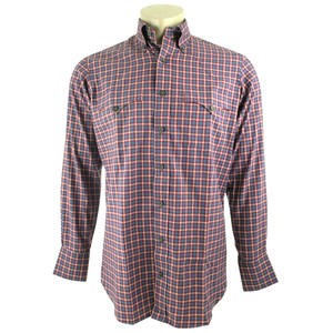Lyle Lovett for Hamilton Blue, Red and White Check Brushed Twill Shirt