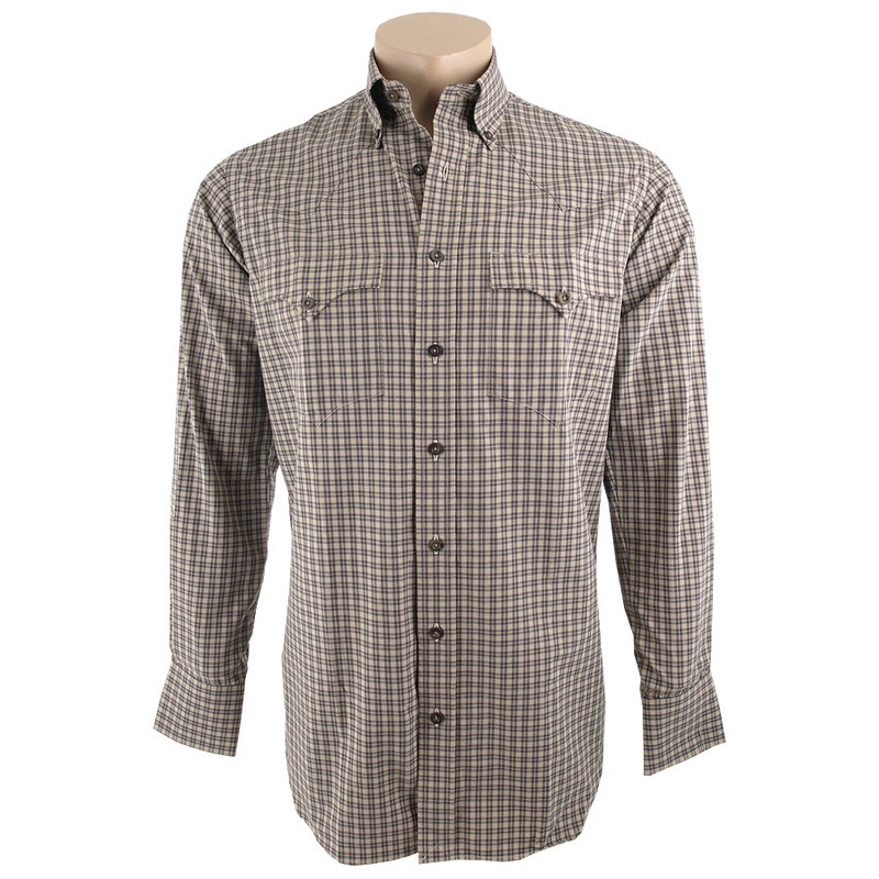Lyle Lovett for Hamilton Tan and White Check Poplin Shirt - Front