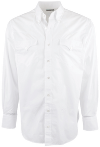 Lyle Lovett for Hamilton White Solid Poplin Shirt - Front