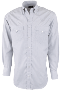 Lyle Lovett for Hamilton White and Black Striped Poplin Shirt - Front