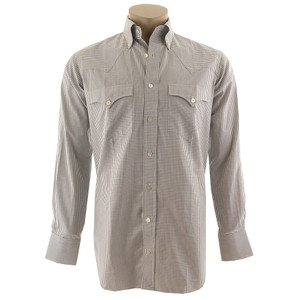Lyle Lovett for Hamilton White, Brown and Gray Check Poplin Shirt