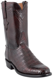 chese Men's Black Cherry Ultra Caiman Crocodile Roper Boots