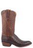 Lucchese Men's Barrel Brown Ultra Caiman Crocodile Boots - Round Toe - Side