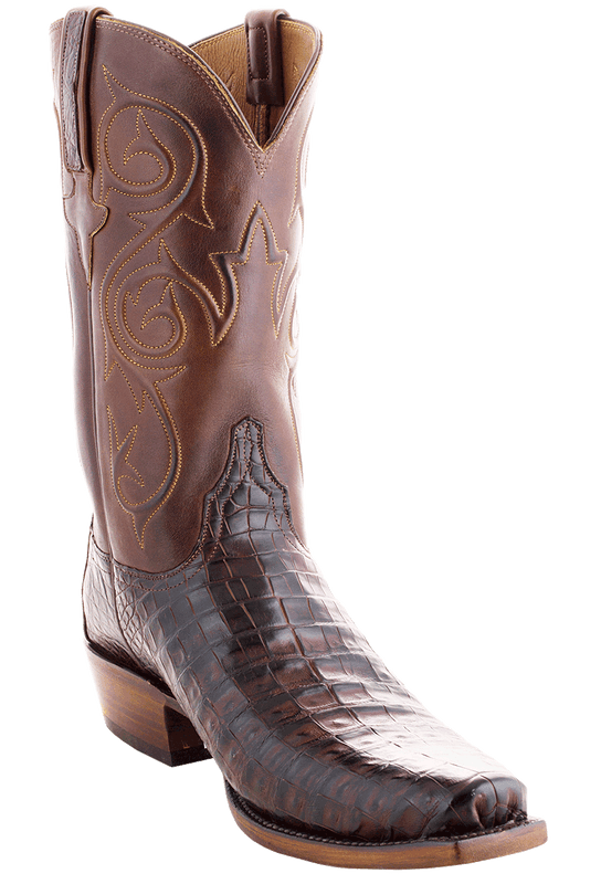 Lucchese Men's Barrel Brown Ultra Caiman Crocodile Boots - John Wayne Toe - Hero