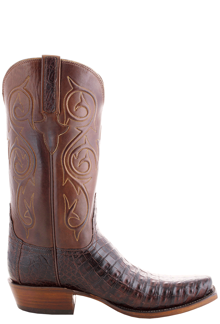 Lucchese Men S Barrel Brown Ultra Caiman Crocodile Boots