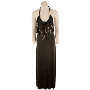 Pat Dahnke Fringe and Feather Maxi Dress