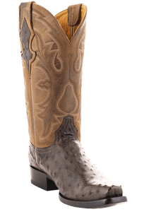Benchmark Men's Cigar Full-Quill Ostrich Boots - Hero