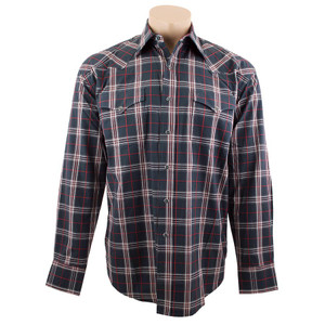 Stetson - Long Sleeve Snap Shirt - Black/Red Plaid