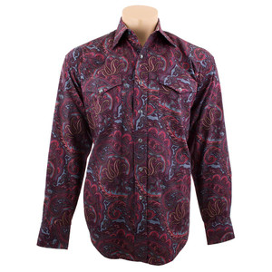 Stetson - Long Sleeve Snap Shirt - Red Paisley Print