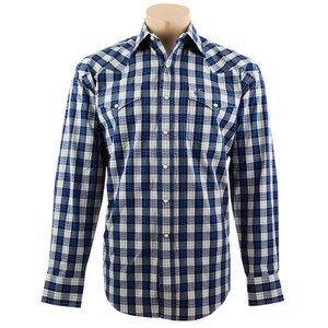 Stetson - Long Sleeve Snap Shirt - Grey/Black Plaid with Blue Pinstripe