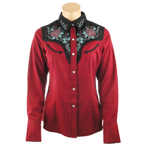 Panhandle Slim Retro Embroidered Yoke Snap Shirt - Red