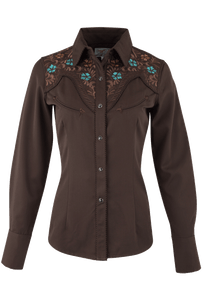 Panhandle Slim Chocolate Embroidered Yoke Snap Shirt - Front