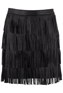 Bagatelle Black Fringe Mini Skirt - Front