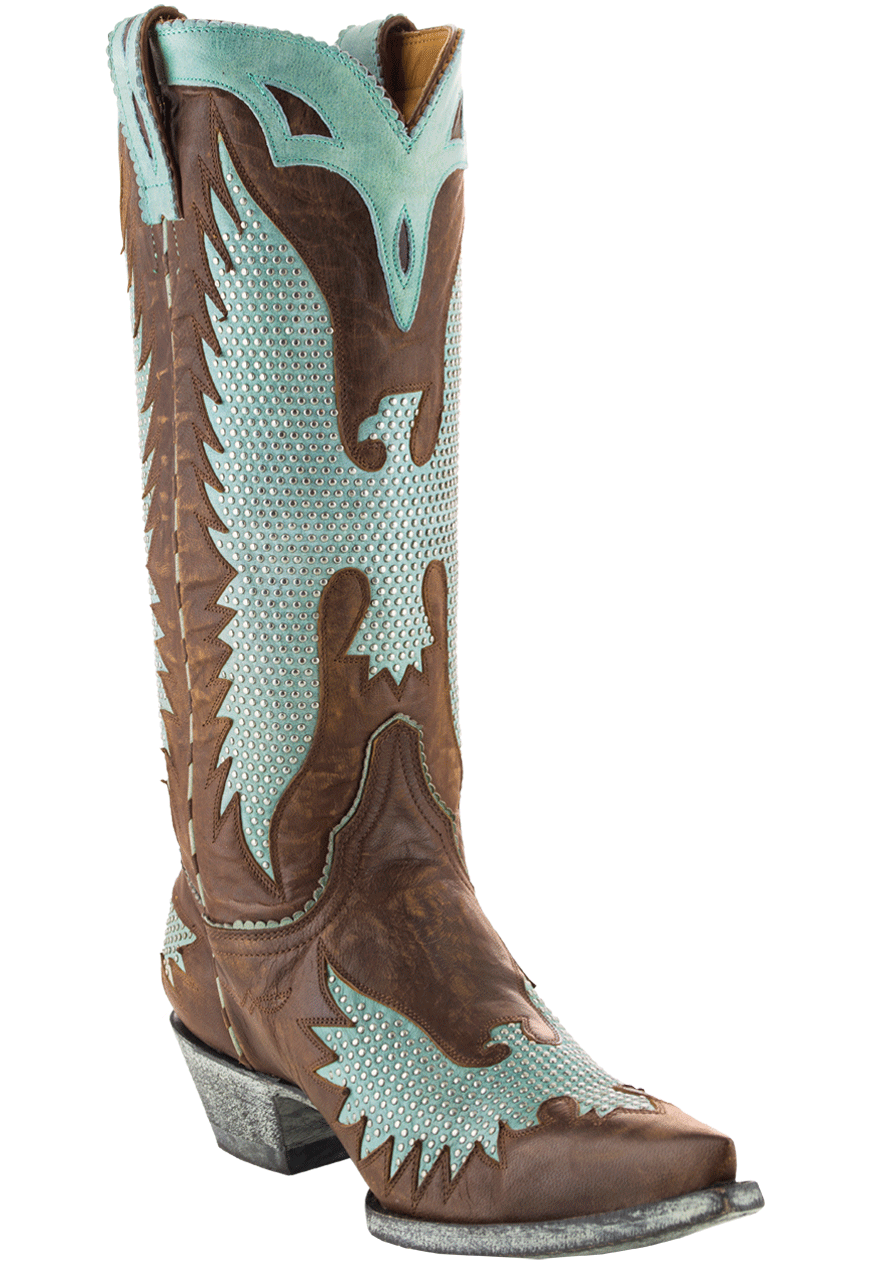 Old Gringo Women S Brass And Aqua Iron Eagle 13 Quot Boots