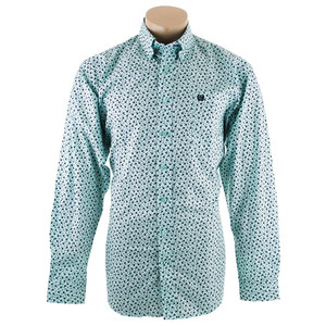 Cinch Aqua with Black Floral Print Shirt - Front
