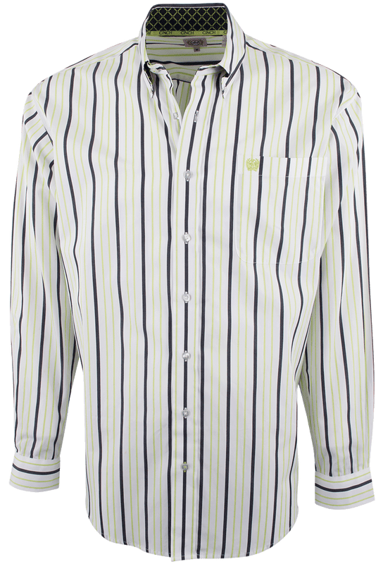 CINCH WHITE WITH LIME AND NAVY STRIPES SHIRT-FRONT