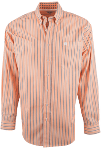 CINCH ORANGE WITH CHARCOAL AND WHITE SHADOW STRIPE SHIRT-FRONT