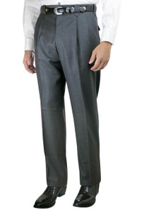 Luxury Pleated Western Dress Slacks - Medium Gray - Front
